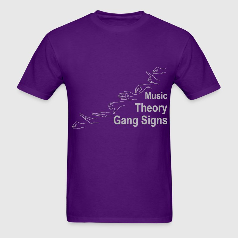 Music Theory Gang Signs (grey) - Men's T-Shirt