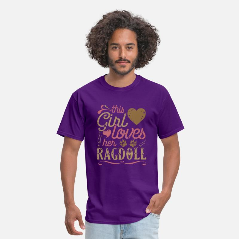 Cat T-Shirts - This Girl Loves Her Ragdoll Cat - Men's T-Shirt purple