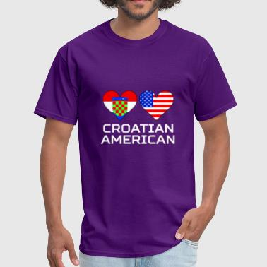 American Croatian Croatian American Hearts - Men's T-Shirt