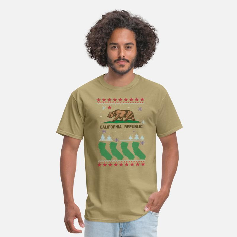 Kids T-Shirts - California Christmas | Ugly Sweater - Men's T-Shirt khaki