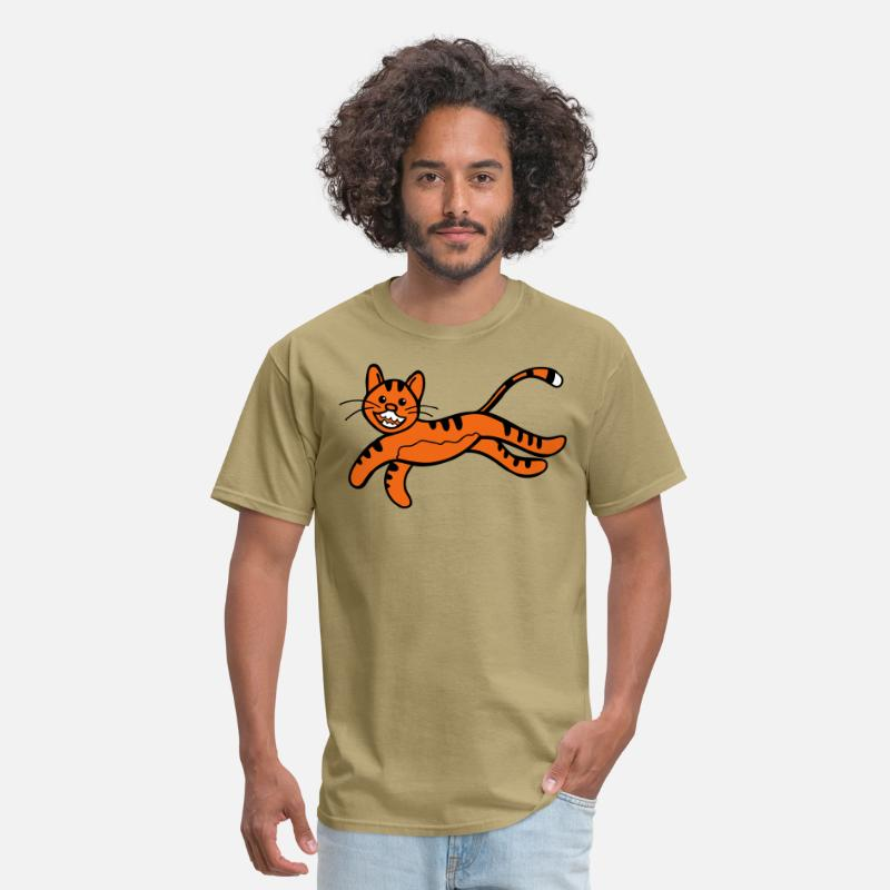 Face T-Shirts - CUTE tiger jumping awesome - Men's T-Shirt khaki