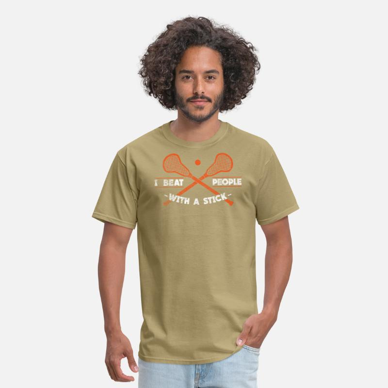 Defense T-Shirts - I Beat People With A Stick Gift - Men's T-Shirt khaki