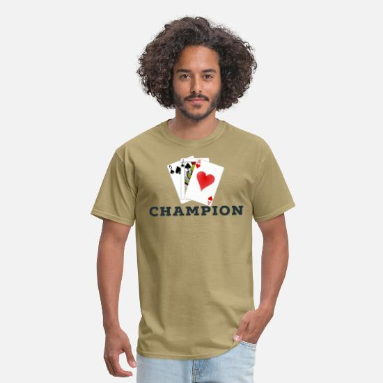 Cards T-Shirts - Card Game 45s Champion. - Men's T-Shirt khaki