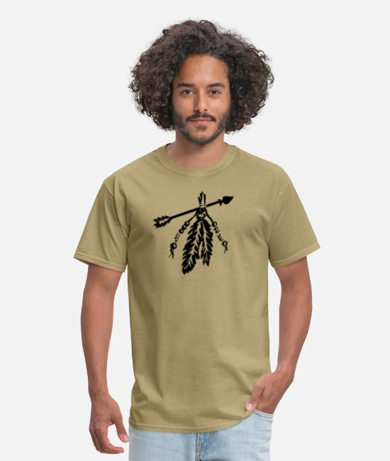 Arrow T-Shirts - Arrow with feathers protection power symbol - Men's T-Shirt khaki