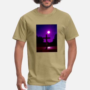 Methodist Cross Jesus Christ Cross Purple Sky Sun Tree - Men's T-Shirt