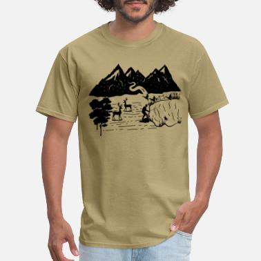 Pine Deer duck fish camping hunting life - Men's T-Shirt