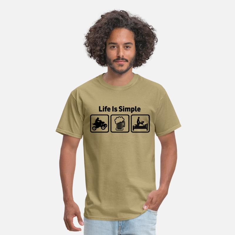 Racing T-Shirts - ATV Life Is Simple Rude Shirt - Men's T-Shirt khaki