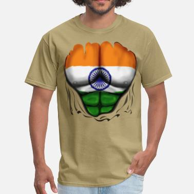 Flag India Flag Ripped Muscles, six pack, chest t-shirt - Men's T-Shirt