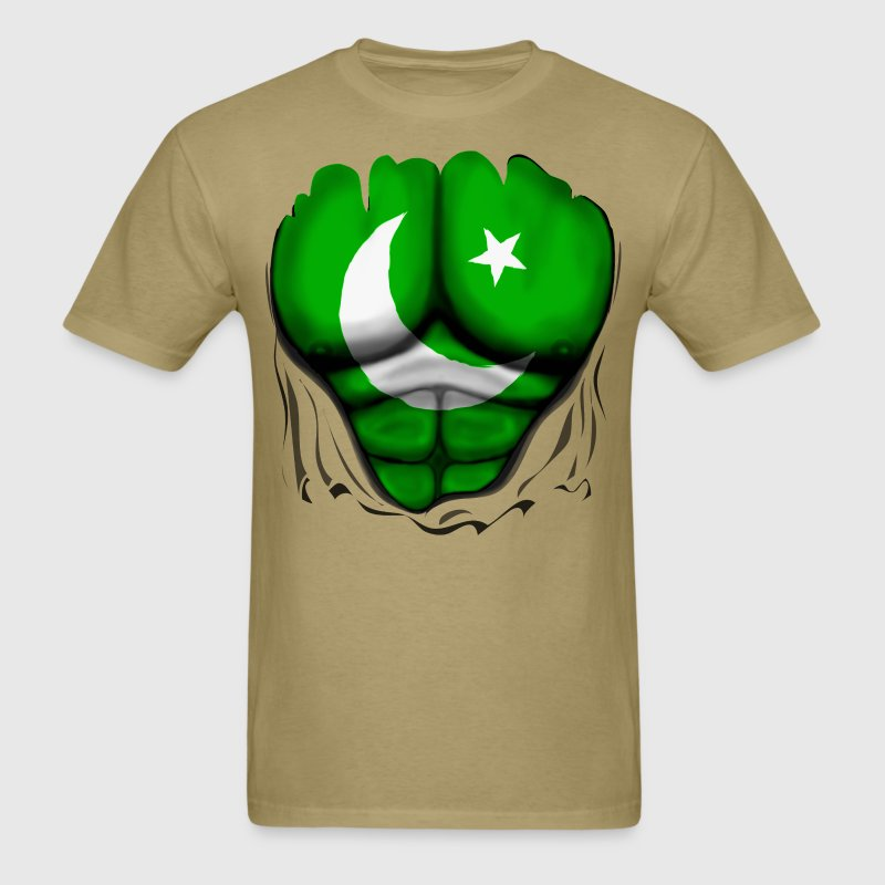 Pakistan Flag Ripped Muscles, six pack, chest t-sh - Men's T-Shirt