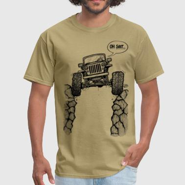 Jeep over a Ravine with Oh Shit Tag.png - Men's T-Shirt