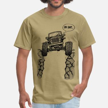 Road Jeep over a Ravine with Oh Shit Tag.png - Men's T-Shirt