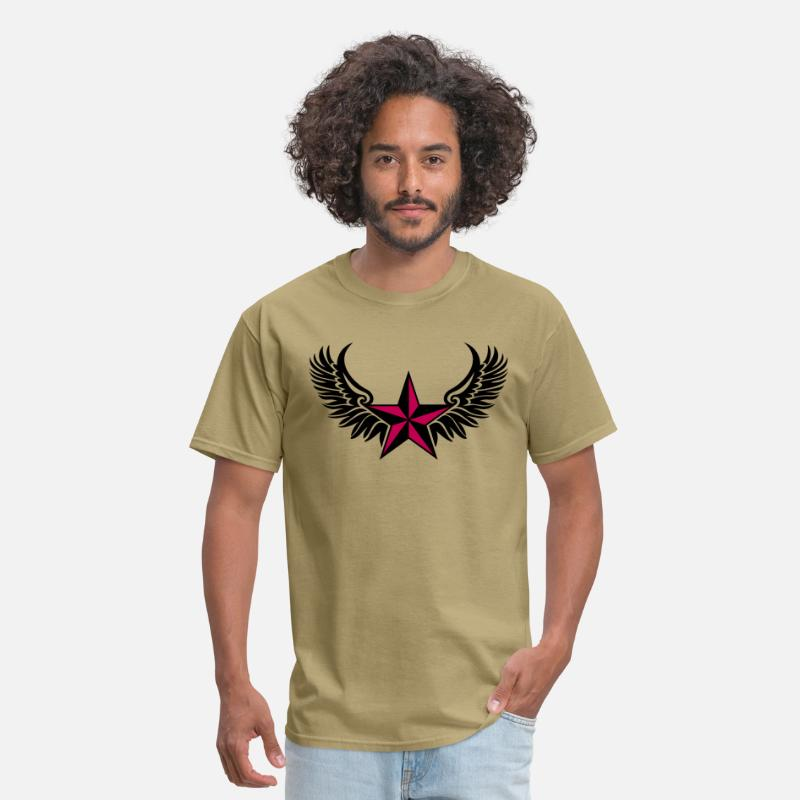 Luck Symbol T-Shirts - Nautical Star Wings, Tattoo Style, Protection Sign - Men's T-Shirt khaki