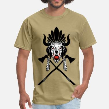 Indian Wolf Wolf Indian Headdress II - Men's T-Shirt