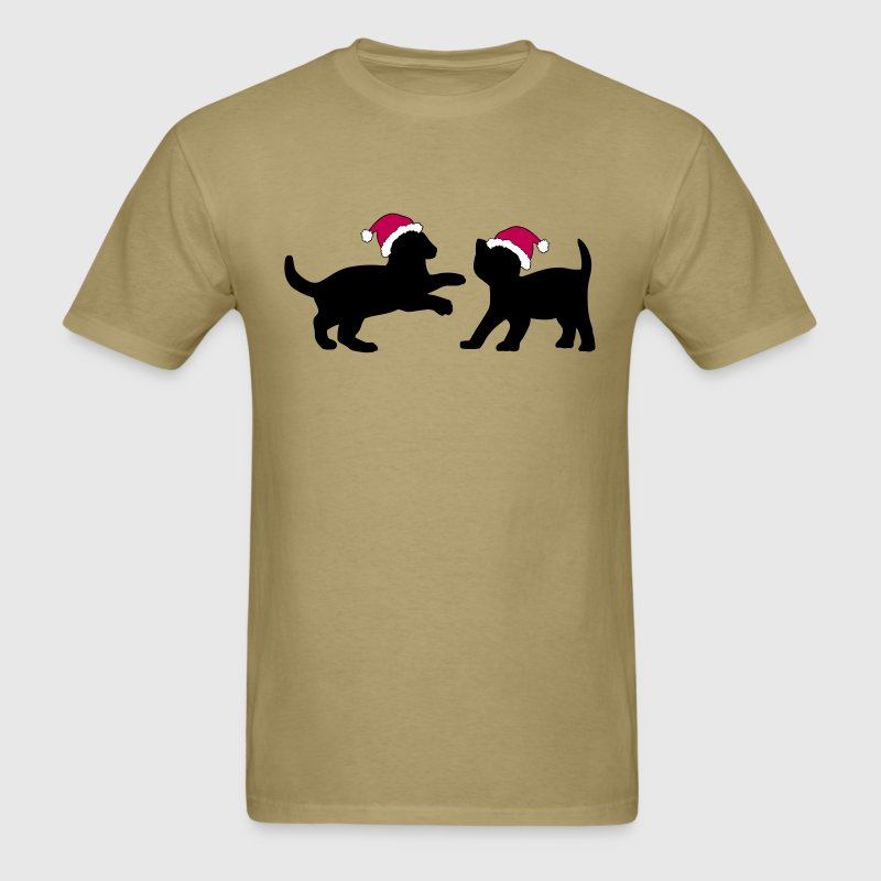 Two Kittens in Christmas Hats  - Men's T-Shirt
