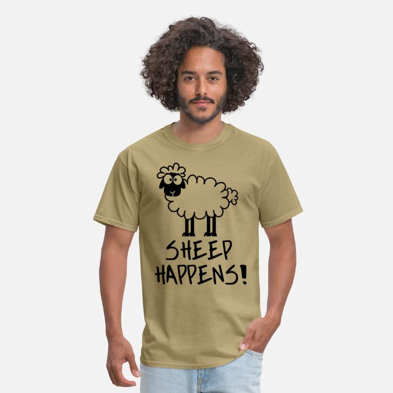 Humor T-Shirts - Sheep Happens - Men's T-Shirt khaki