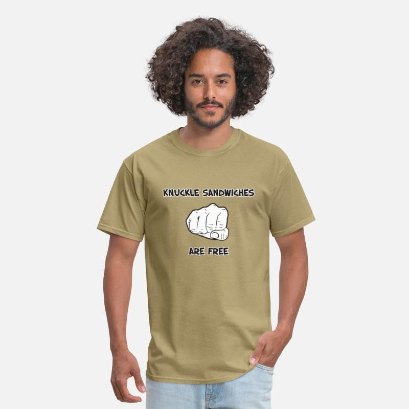 Funny T-Shirts - Knuckle Sandwiches Are Free - Men's T-Shirt khaki