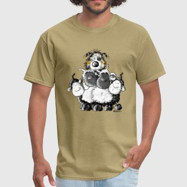 Australian Shepherd Cartoon Australian Shepherd and sheep - Dog - Men's T-Shirt
