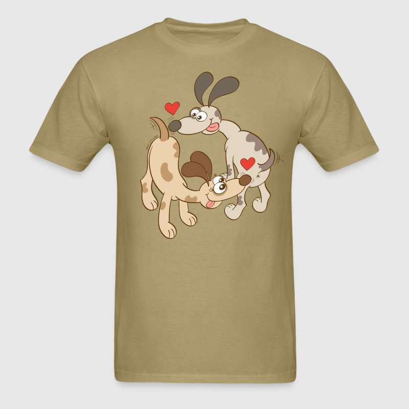 Dogs Falling in Love by Sniffing Butts - Men's T-Shirt