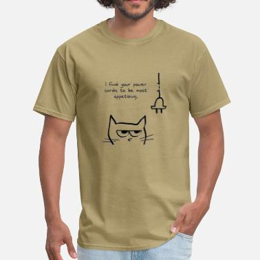 Angry Love Angry Cat Loves to Chew Cords - Men's T-Shirt