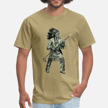 Indian Cars Native American Indian in Fighting Pose - Men's T-Shirt
