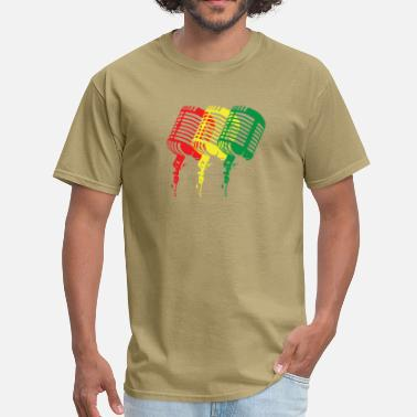 Green And Gold Reggae-Colored Microphones in a classic design - Men's T-Shirt