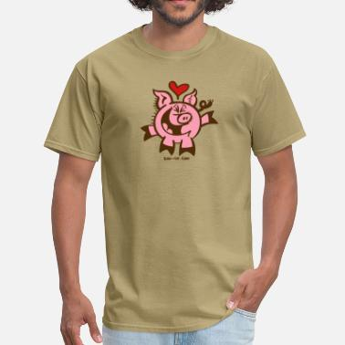 Heart Over Mind Head over Heels in Love Pig - Men's T-Shirt