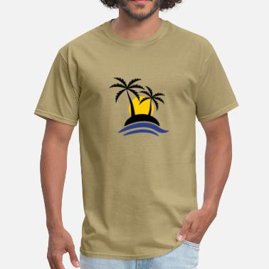 Tropical Tropical Island With Sunset - Men's T-Shirt