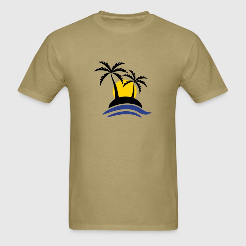 Tropical Island With Sunset - Men's T-Shirt