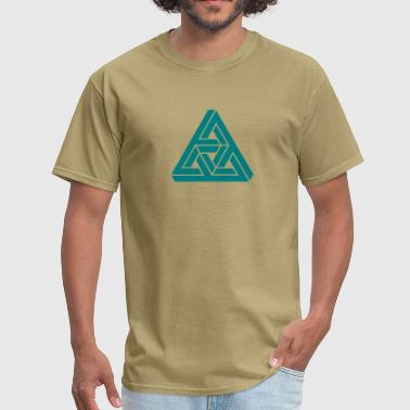 Number Tribar Impossible triangle optical illusion, Escher,  - Men's T-Shirt