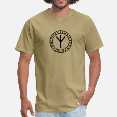 Esoteric Magic Mystical Algiz rune, rune of higher vibrations, Odin, Runes - Men's T-Shirt