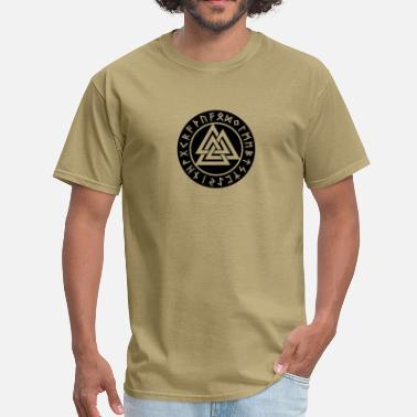 Viking Magic Hammer Valknut, Wotan's Knot, Runes, Odin, Walhalla - Men's T-Shirt