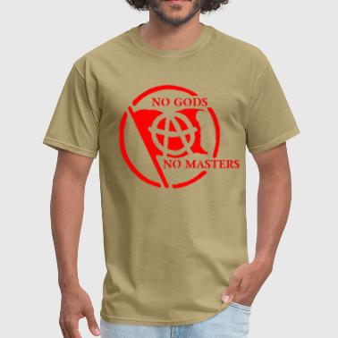 No Gods No Masters (with Anarchist flag) - Men's T-Shirt