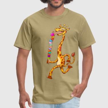 Ice Cream Cones Cool Giraffe Eating Ice Cream - Men's T-Shirt