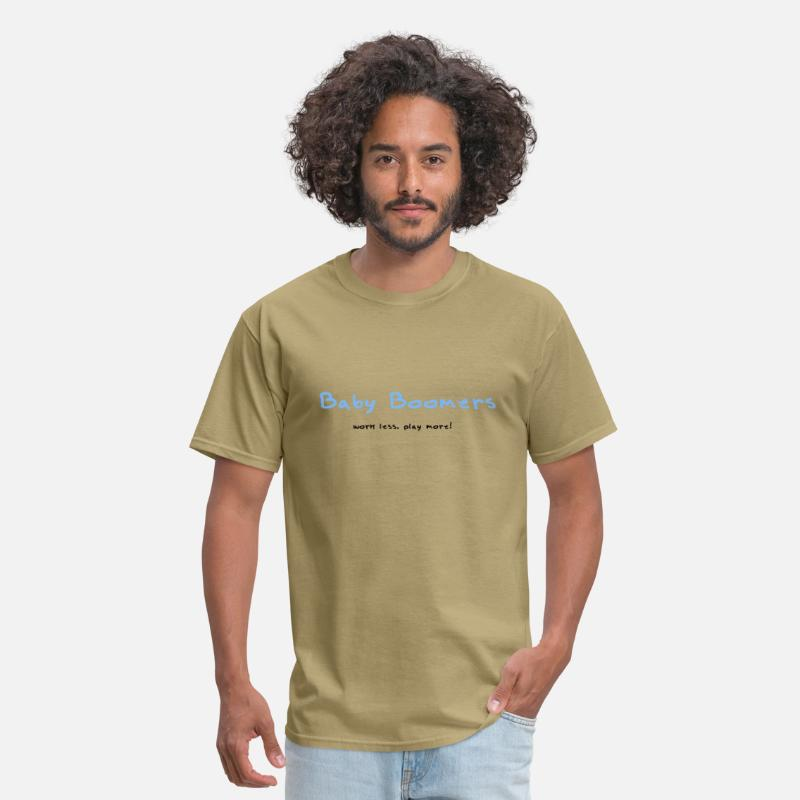 "Miscellaneous T-Shirts - Baby Boomers - ""work less. play more!"" - Men's T-Shirt khaki"