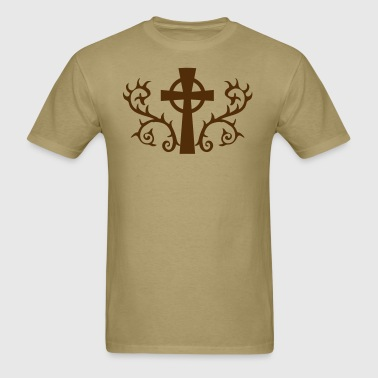 COOL gothic celtic cross with thorns METAL! - Men's T-Shirt