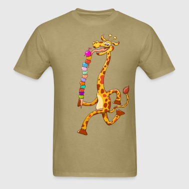 Cool Giraffe Eating Ice Cream - Men's T-Shirt