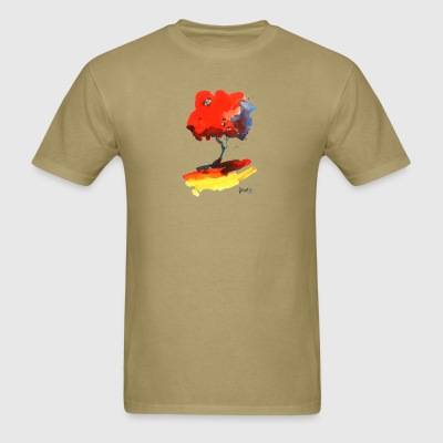 Red Tree with Yellow Ground - Men's T-Shirt