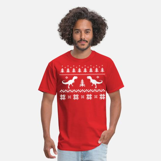 Ugly T-Shirts - Ugly T-Rex Dinosaur Christmas Sweater - Men's T-Shirt red