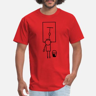 Window Man cleans window - Men's T-Shirt