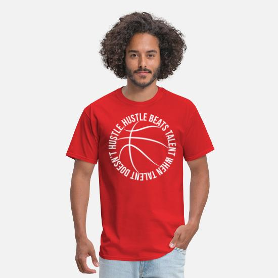 Basketball T-Shirts - Hustle Beats Talent Basketball - Men's T-Shirt red