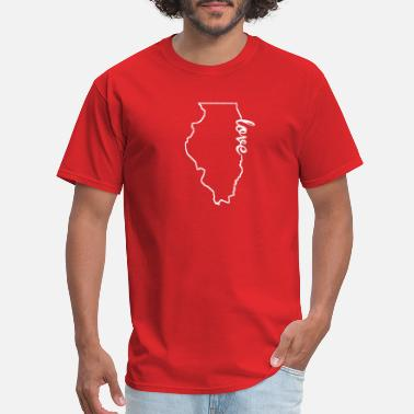 Illinois State Illinois Love State Outline - Men's T-Shirt