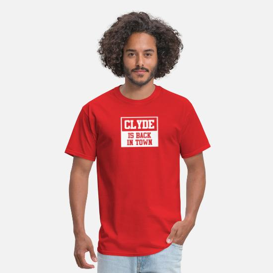 Backside T-Shirts - Clyde is back in town funny tshirt - Men's T-Shirt red