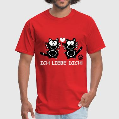 Catpaw Design Comic Cat Cats Ich liebe dich sexy   - Men's T-Shirt