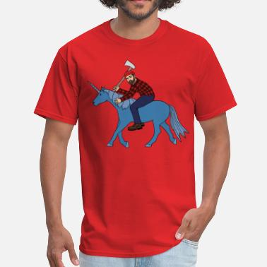 Paul Bunyan  paul bunyan riding babe unicorn - Men's T-Shirt