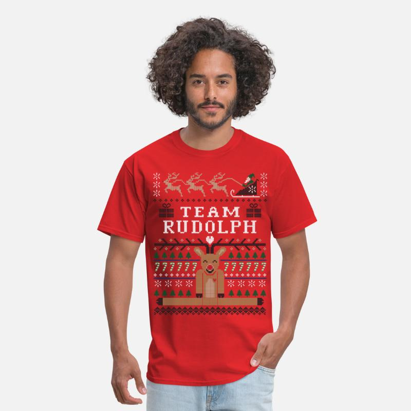 Christmas T-Shirts - Rudolph Ugly Christmas - Men's T-Shirt red