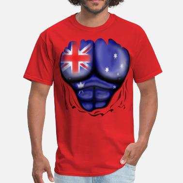 Australia Australia Flag Ripped Muscles, six pack, chest t-shirt - Men's T-Shirt