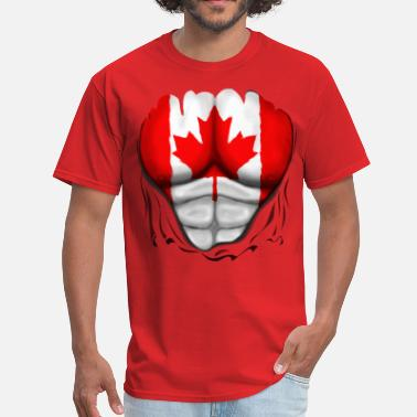 Canada Canada Flag Ripped Muscles, six pack, chest t-shirt - Men's T-Shirt
