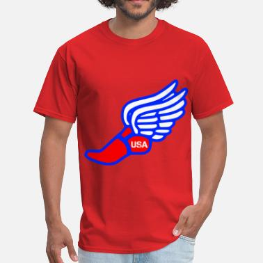 Fast Foot USA TRACK AND FIELD WINGED FOOT - Men's T-Shirt