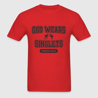 God Wears Singlets (Wrestling) - Men's T-Shirt