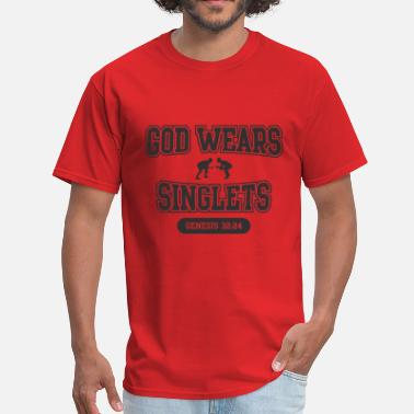Funny Singlets & God Wears Singlets (Wrestling) - Men's T-Shirt